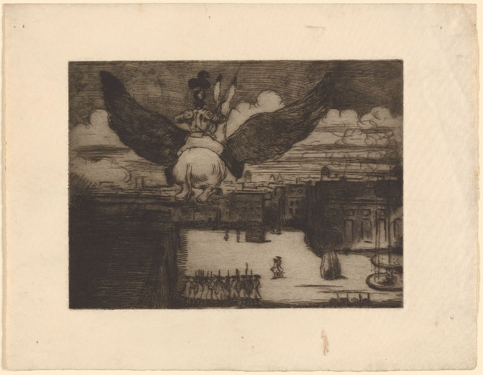 """William Rothenstein, A Scene from Voltaire's """"La Pucelle"""", etching, first published in Volume One of The Savoy, 1896"""